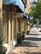 Sidewalk and Stores Downtown Sarasota stock photography
