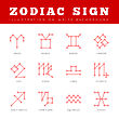 Signs Of The Zodiac In The Form Of Lines, Dots Connected. Vector Illustration
