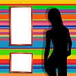 Silhouette Of A Dancing Girl And Two Empty Frames Over A Colored Stripes Background