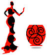 Silhouette Of The Female Of Mannequin And Black Iron Hanger Within The Portrait Framework stock illustration