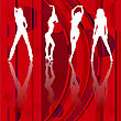 Silhouette Of Girls Dancing On A Disco Background