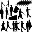 Silhouette Military People Collection. Vector Illustration