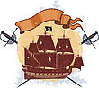 Silhouette Of A Pirate Ship On The Grange Background With Two Crossed Sabers And An Empty Banner