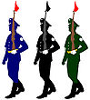 Silhouette Soldiers During A Military Parade. Vector Illustration
