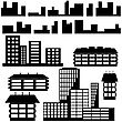 Silhouettes Of Houses And Buildings Icons. Vector Illustration