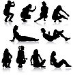 Silhouettes Of People In Positions Lying And Sitting. Vector Illustration
