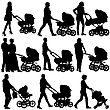 Silhouettes Walkings Mothers With Baby Strollers. Vector Illustration