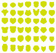 Silhouettes Of Yellow Shields Isolated On White Background