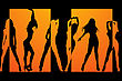 Silhouetts Of Six Different Dancing Girls In Black And Orange.