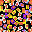 SIM Cards Seamless Pattern On Black Background