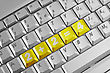 Simple Equation On The Yellow Computer Keyboard Keys. stock photo