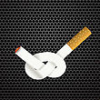 Single Cigarette Knotted And Isolated On Steel Grid Background. Health Care Concept