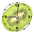Single Cross Section Of Kiwi As A Office Clock. Close-up. Studio Photography stock photo
