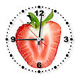 Single Cross Section Of Red Strawberry As A Office Clock Close-up Studio Photography stock image
