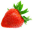 Single Fresh Strawberries. Isolated Over White stock photo