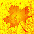 Single Orange Mosaic Autumn Leaf On Yellow Polygonal Background