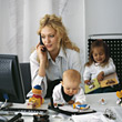 Single Parent in Home Office stock photography