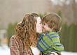 Sister Brother Kissing stock photography