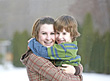 Smiling Sister Brother stock photo