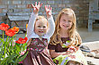 Sisters in the Front Yard stock photo