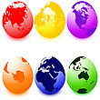 Six Eater Eggs With World Map, Different Colors