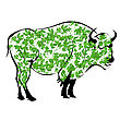 Sketch Of A Buffalo Made From Autumn Leaves stock illustration