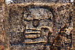 Fear Skull The Abstract Incision In The Old Temple Of Chichen Itza Mexico stock photo