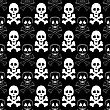 Skull Cross Bones Seamless Pattern. Skull Isolated On Dark
