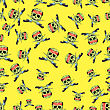 Skull Cross Sharp Dagger Seamless Pattern Isolated On Yellow