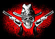Skull Wearing A Cowboy Hat With Two Guns On The Black And Red Background stock image