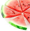 Slice Of Juicy Watermelon. Isolated Over White stock image