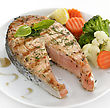 Slice Of Salmon And Vegetables ,Close Up stock photography