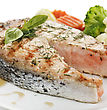 Slice Of Salmon With Vegetables ,Close Up stock photography
