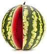 Sliced Ripe Watermelon Isolated On White Background Cutout stock image