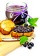 Slices Of Toasted Bread, A Glass Jar With Black Currant Jam, Knife On The Board Isolated On White Background stock photo