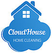 Small Blue House On The Cloud. Home Cleaning Or Deleivery Company Business Logo. Vector Element, Icon