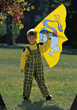 Stand Small Boy In Park With Kite stock photography