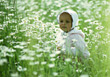Small Girl In Field Of Daisies stock image