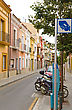Sightseeing Small Typical Street In Cozy Spanish Town. Catalonia stock photo