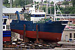 Small Vessel On The Slipway Is Being Renovated stock photo