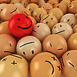 Smiley Ball In The Heap Of Balls With Different Emotions