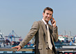Smiling Business Man on Cell Phone stock photo