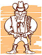 Smiling Cowboy With Lasso.Vector Vintage Image stock vector