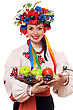 Wreath Smiling Young Woman In The Ukrainian National Clothes With Fruit stock photo