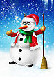 Smilingsnowman With Broom And Green Scarf On Blue Background Illustration stock illustration