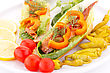 Smoked Fish With Fresh Vegetables On Plate stock image