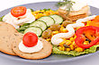 Snacks With Vegetables, Crackers And Cheese Cream On Plate stock photo