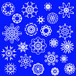 Snow Flakes Icons Isolated On Blue Background