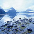 Snowcapped Mountains & Fjord, New Zealand stock photo