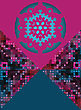Snowflake On Pink And Blue Triangle As Frame For Text, Modern Winter Card Design